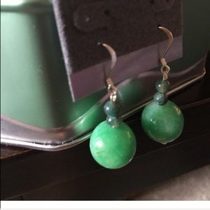 Rounded green stone earrings